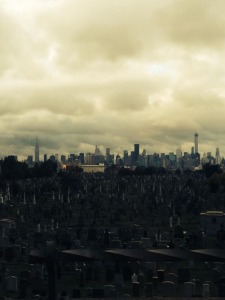 NY skyline over a graveyard off Brooklyn Bridge